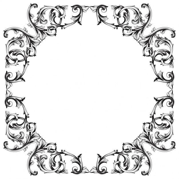 Vintage Ręcznie Rysowane Element Wiktoriański Lub Adamaszku Kwiatowy. Czarno-biały Grawerowany Atrament. Premium Wektorów
