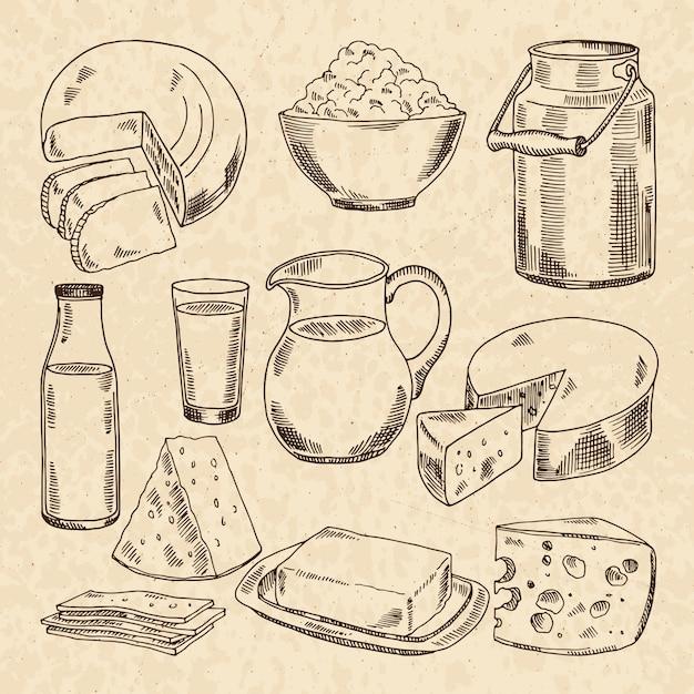 Vintage ręcznie rysowane ilustracje jogurtu, serów i innych świeżych produktów mlecznych Premium Wektorów