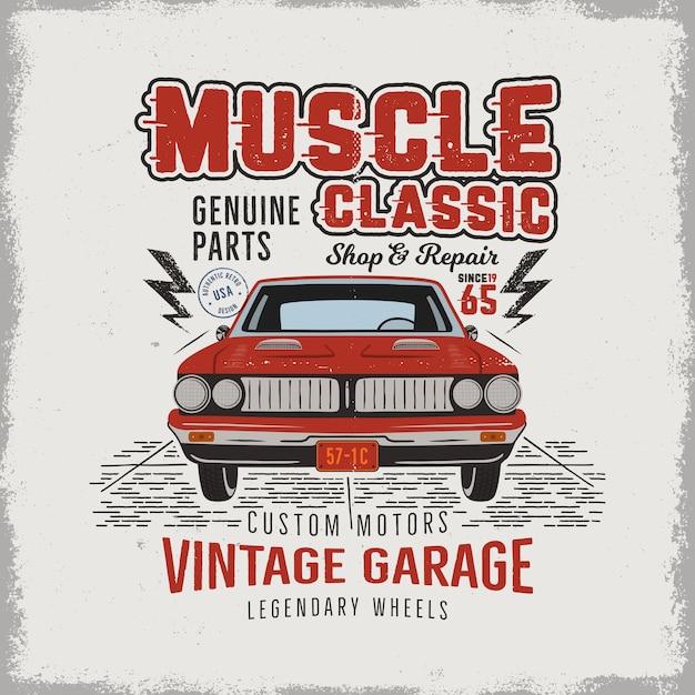 Vintage Ręcznie Rysowane Klasyczny Samochód Muscle Premium Wektorów