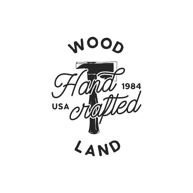 Vintage Ręcznie Rysowane Logo Woodworks I Godło Premium Wektorów
