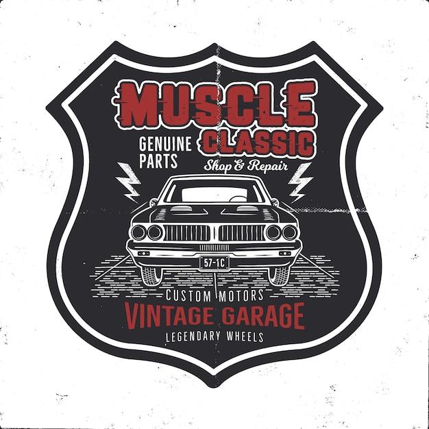 Vintage Ręcznie Rysowane Samochód Mięśni Premium Wektorów