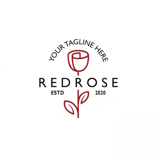 Vintage Retro Różowa Linia Logo Sztuki Premium Wektorów