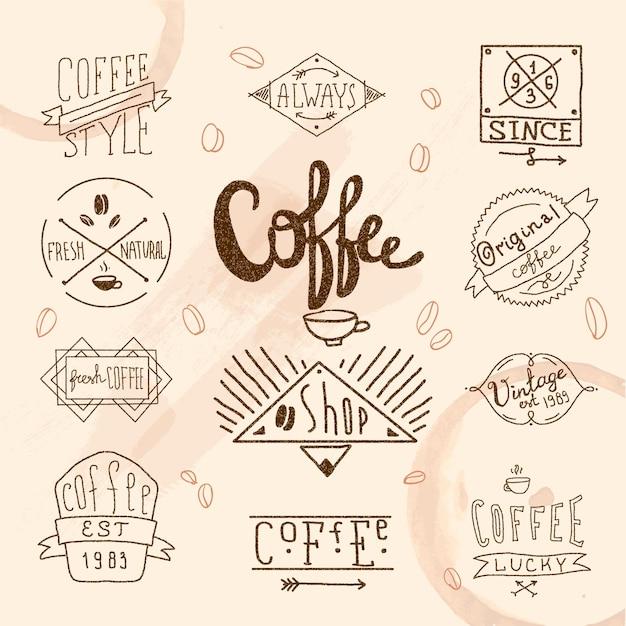 Vintage retro zestaw etykiet kawy Darmowych Wektorów