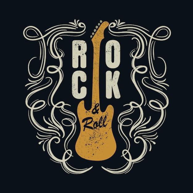 Vintage Rock And Roll Typograficzne Na T-shirt Premium Wektorów