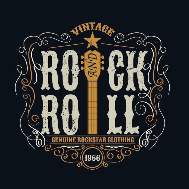 Vintage Rock And Roll Typograficzne Na T-shirt. Premium Wektorów