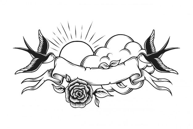 Vintage Romantyczny Tatuaż Szablon Darmowych Wektorów
