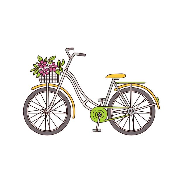 Vintage Rower Z Bukietem Kwiatów W Koszu Na Białym Tle - żółty Damski Rower W Stylu Retro Z Różowymi Kwiatami. Ilustracja. Premium Wektorów
