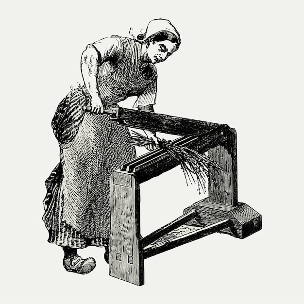 Vintage Scutcher Maszyna Ilustracja Darmowych Wektorów