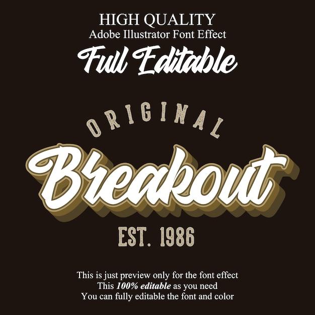 Vintage skrypt efekt edytowalnej czcionki typografii Premium Wektorów