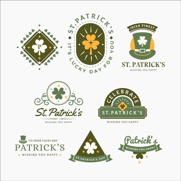Vintage St. Kolekcja Etykiet / Odznak Z Okazji Dnia Patryka Darmowych Wektorów