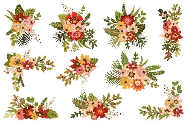 Vintage świąteczne Kompozycje Kwiatowe Premium Wektorów