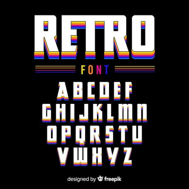 Vintage szablon alfabetu płaska konstrukcja Darmowych Wektorów