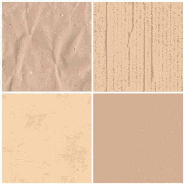 Vintage Tekstury Papieru. Retro Teksturowane Brązowe Papiery, Rzemiosła Tektury I Zawijanie Zabytkowych Stron Zestaw Tekstur Tła Premium Wektorów