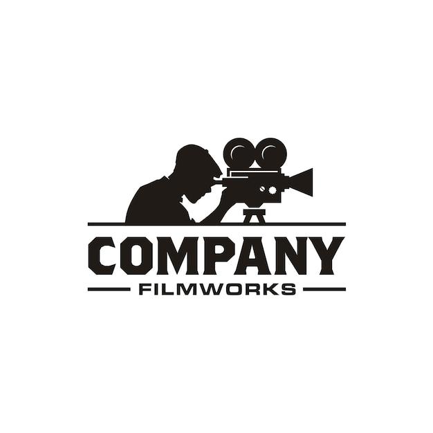 Vintage video camera logo do produkcji kina filmowego Premium Wektorów