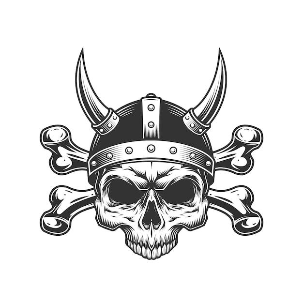 Vintage Viking Skull W Rogatym Hełmie Darmowych Wektorów