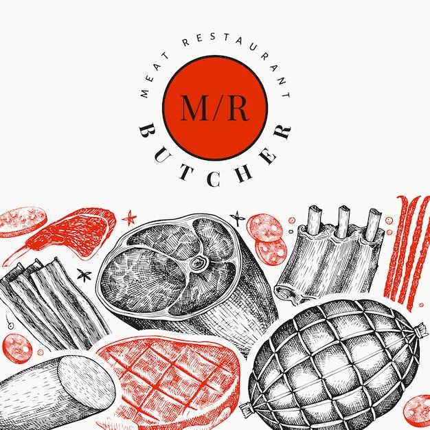 Vintage Wektor Szablon Projektu Produktów Mięsnych. Premium Wektorów