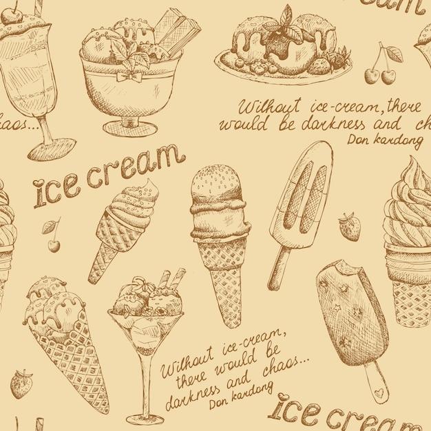 Vintage wzór lody Darmowych Wektorów