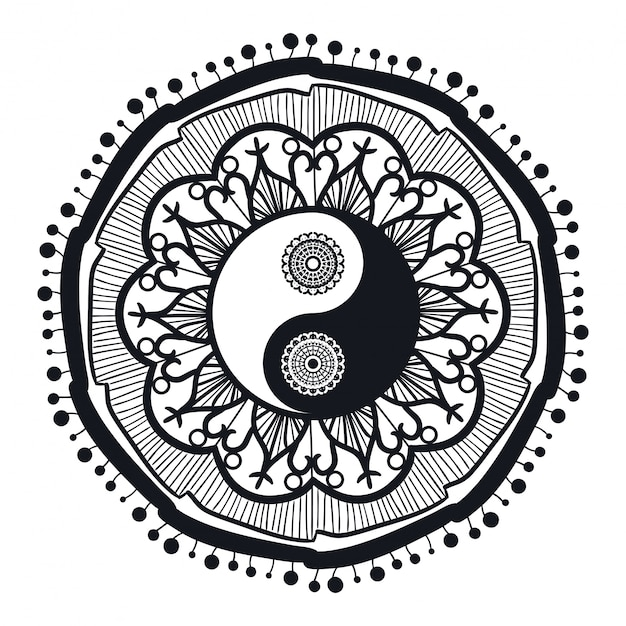 Vintage yin i yang w mandali Premium Wektorów