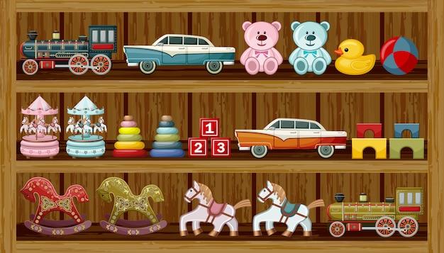 Vintage Zabawki Na Półce. Premium Wektorów
