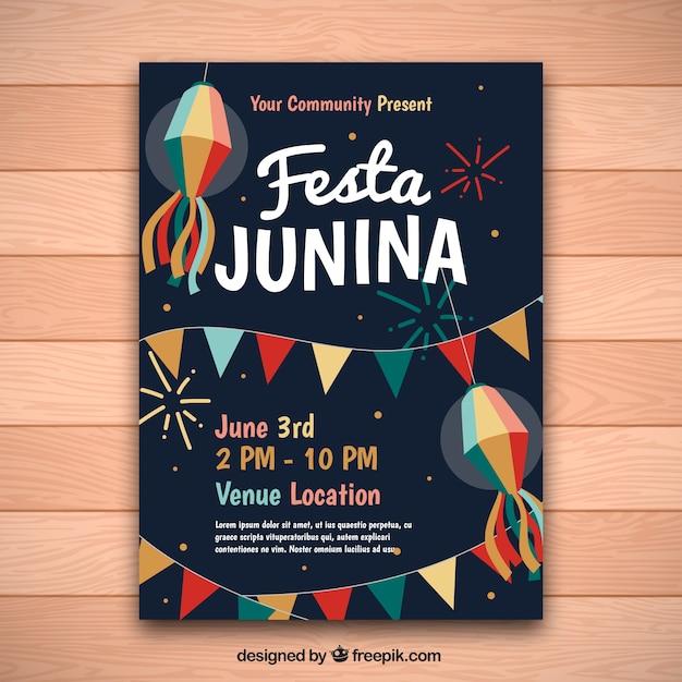 Vintage Zaproszenie Junina Festa Darmowych Wektorów