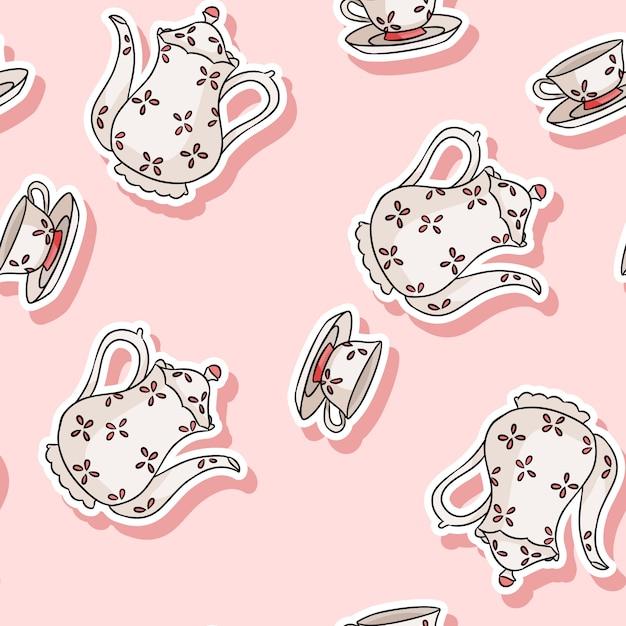 Vintage zestaw herbaty naklejki doodle kolorowy wzór Premium Wektorów