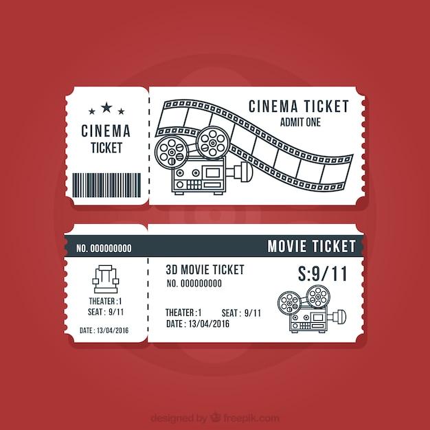 Vintage Zestaw Kina Bilety Darmowych Wektorów