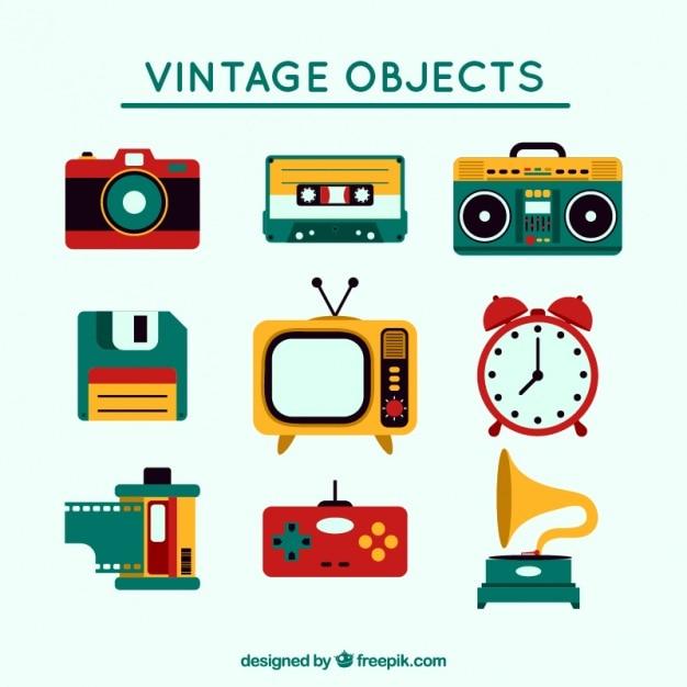 Vintage Zestaw Kolorowych Przedmiotów Premium Wektorów