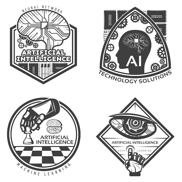 Vintage Zestaw Odznak Sztucznej Inteligencji Darmowych Wektorów
