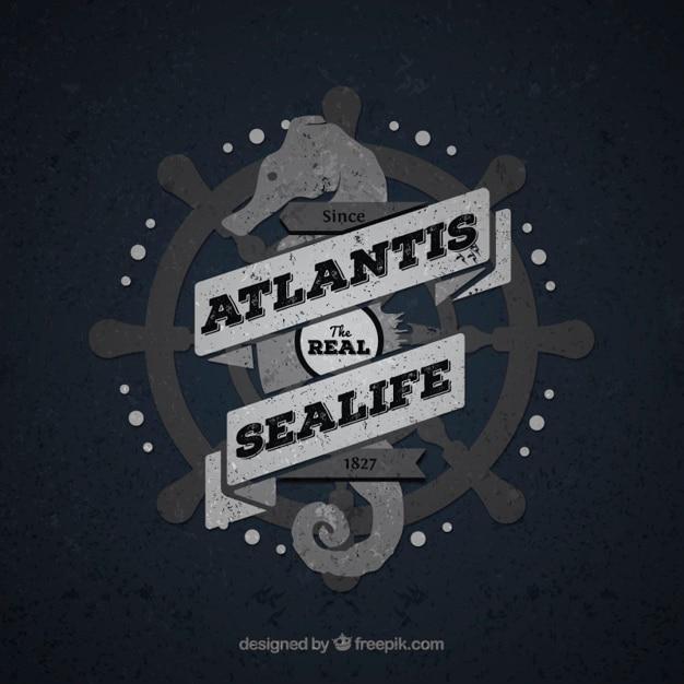 Vintage znaczek sea life Darmowych Wektorów