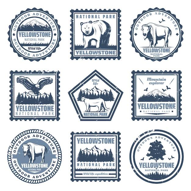 Vintage Znaczki Parku Narodowego Z Napisami Przedstawiają Orła Bawole Puma I Krajobrazy Przyrody Na Białym Tle Darmowych Wektorów