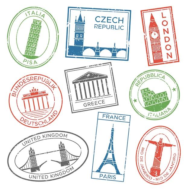 Vintage znaczki podróżne na pocztówki z krajami europejskimi atrakcje architektoniczne krajoznawstwo wycieczka naklejki Premium Wektorów