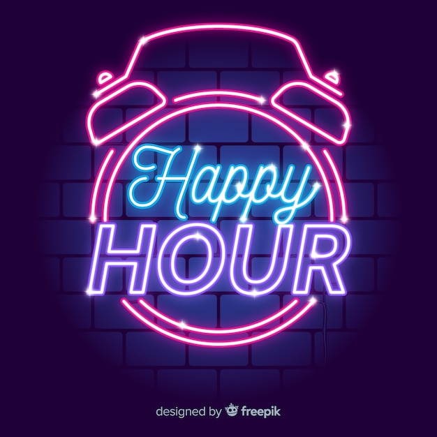 Vintage znak happy hour neon Darmowych Wektorów