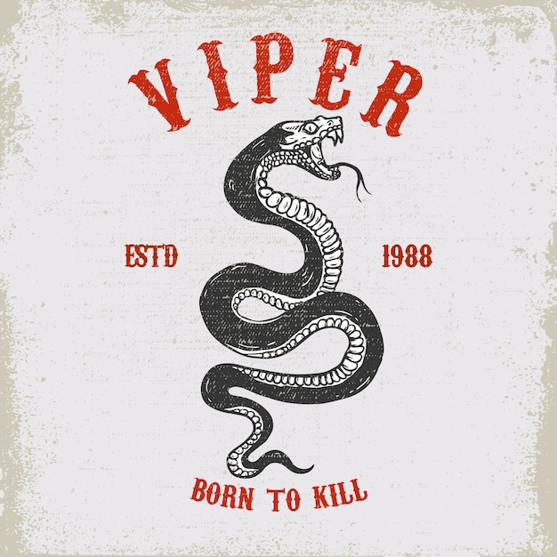 Viper Snake Ilustracja Na Grunge Tekstur Premium Wektorów