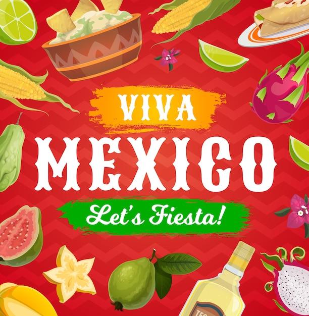 Viva Mexico Fiesta Party Jedzenie I Picie Tło Meksykańskiej Karty Z Pozdrowieniami świątecznymi. Premium Wektorów