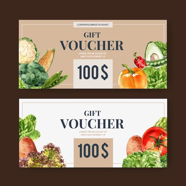 Voucher prezentowy kolekcja warzywnych farb akwarelowych. świeża żywność organiczna zdrowa ilustracja Darmowych Wektorów