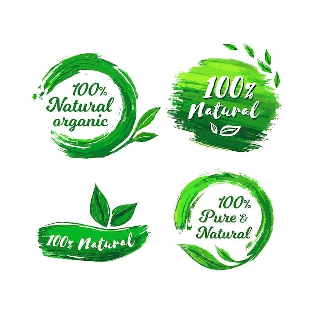 W 100% Naturalna Kolekcja Etykiet Darmowych Wektorów