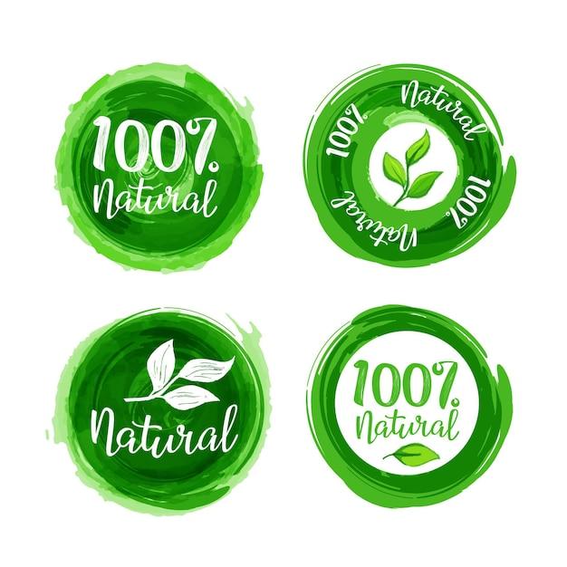 W 100% Naturalny Zestaw Etykiet Darmowych Wektorów