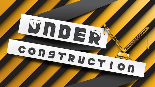 W Budowie Znak Stylu Cięcia Papieru Na żółte Paski Czarne Premium Wektorów