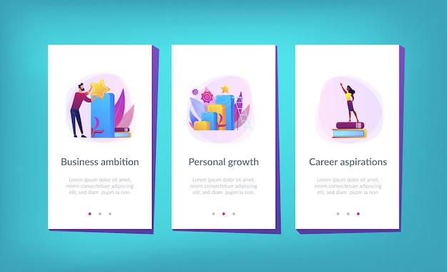 W Drodze Do Sukcesu Szablon Interfejsu Aplikacji Premium Wektorów
