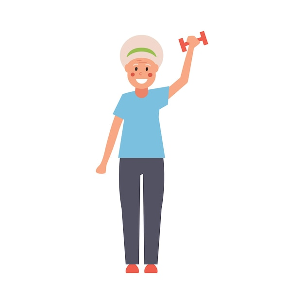 W Modzie Nowoczesna Babcia Z Hantlami W Dłoniach Wykonuje ćwiczenia Fitness. W Pełni Edytowalna Ilustracja. Idealne Na Karty Informacyjne, Plakaty, Ulotki, Trendy I Motywy Fitness. Premium Wektorów