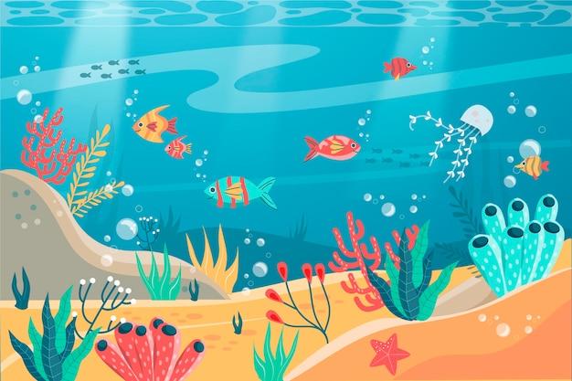 W Morzu - Tło Do Wideokonferencji Premium Wektorów