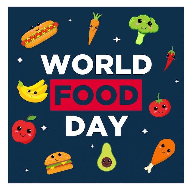 W Tle światowego Dnia żywności Premium Wektorów