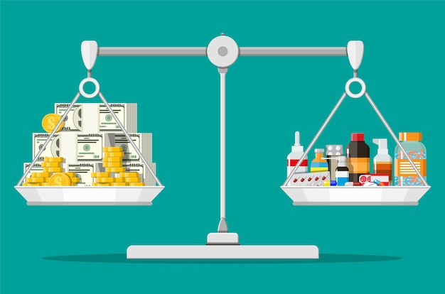 Wagi Wagi Ze Stosem Pieniędzy Oraz Butelkami Leków I Pigułek Premium Wektorów