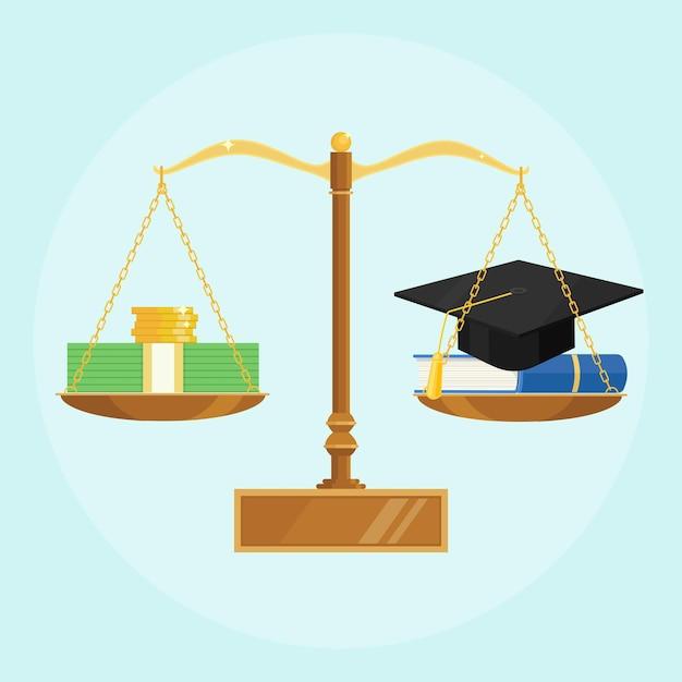 Wagi Z Czapką Akademicką, Podręcznikiem I Stosem Pieniędzy. Zainwestuj W Edukację, Naukę Premium Wektorów