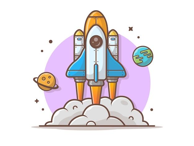 Wahadłowiec Bierze Daleko Z Planety I Ziemi Wektoru Ilustracją Premium Wektorów