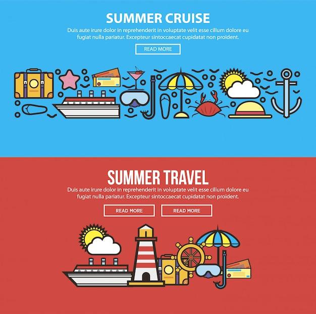 Wakacje letnie lub podróże morskie Premium Wektorów
