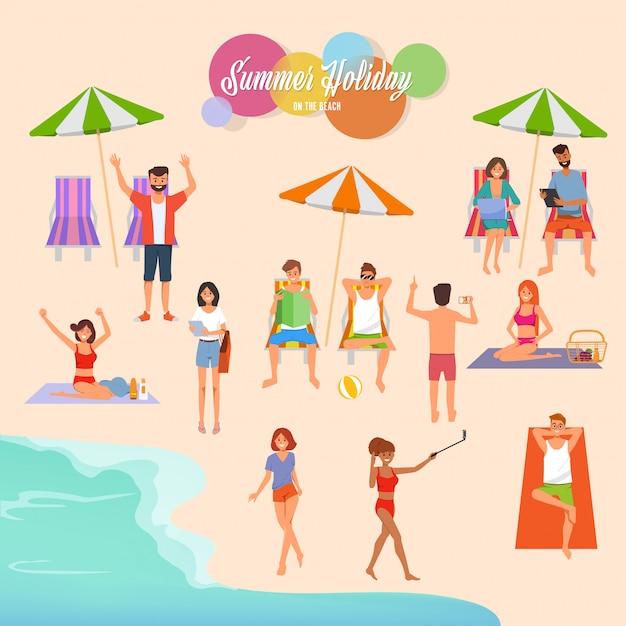 Wakacje Letnie Na Plażowej Ilustraci Premium Wektorów