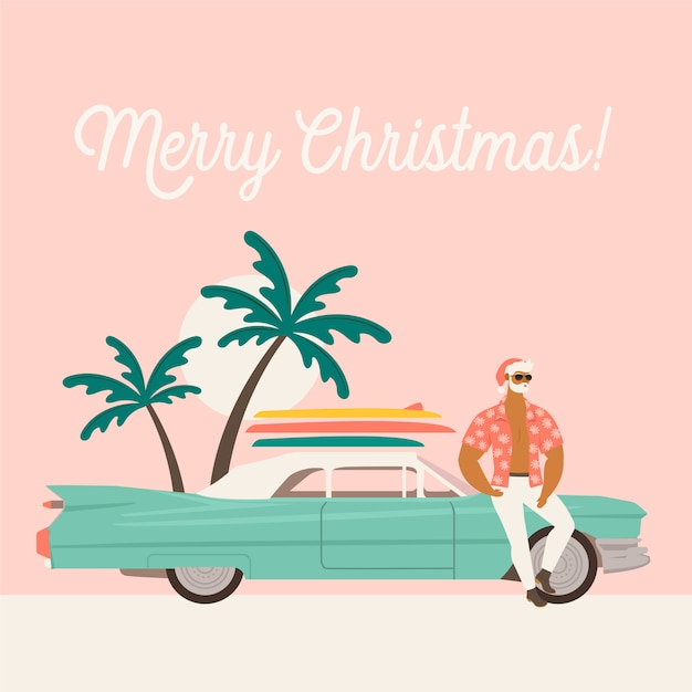 Wakacje letnie wakacje z mikołajem i samochodem. Premium Wektorów