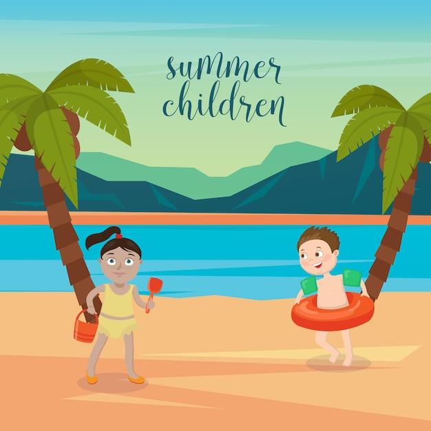 Wakacje na morzu dla dzieci. dziewczęta i chłopcy bawiące się na plaży. ilustracji wektorowych Premium Wektorów