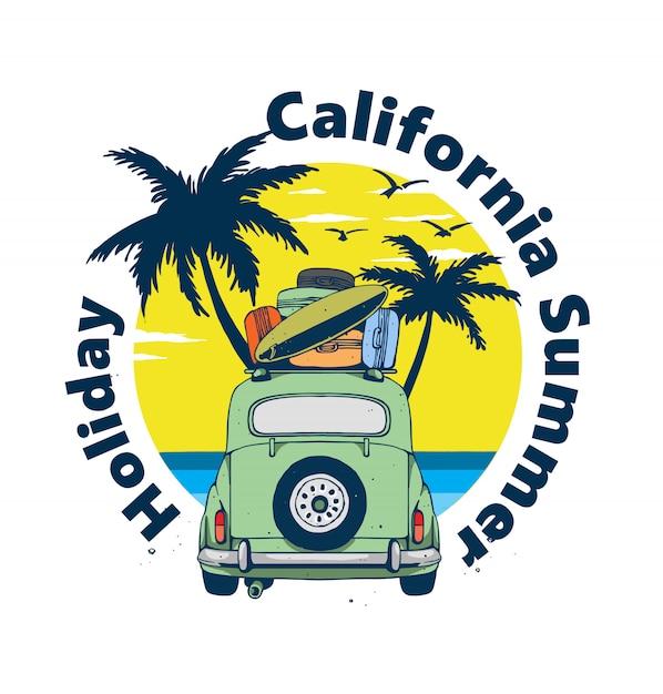 Wakacje Na Plaży W Kalifornii Premium Wektorów